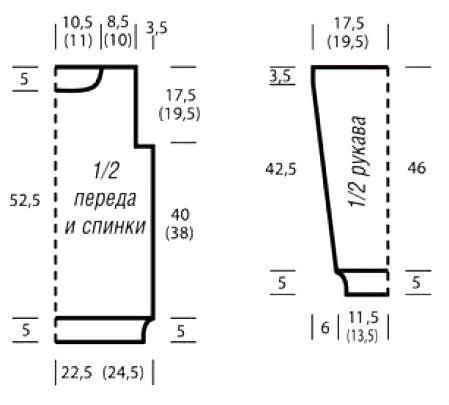 Схема вязания джемпер с комбинированным узором раздел вязание спицами для женщин кофты спицами женские