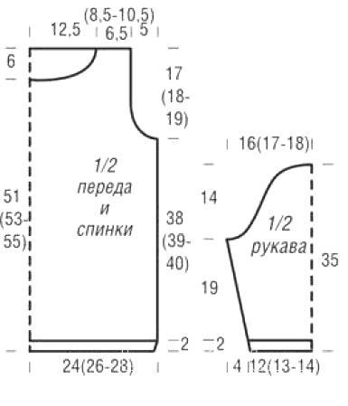 Схема вязания джемпер с круглой горловиной раздел вязание спицами для женщин кофты спицами женские
