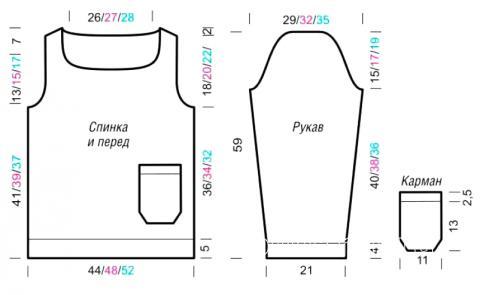 Схема вязания джемпер с накладным карманом раздел вязание спицами для женщин кофты спицами женские