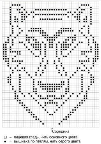 Схема вязания джемпер с вышивкой в виде тигра раздел вязание спицами для женщин кофты спицами женские
