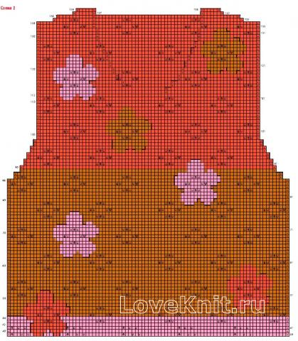 Схема вязания кардиган с ажурными цветами раздел вязание спицами для женщин кофты спицами женские