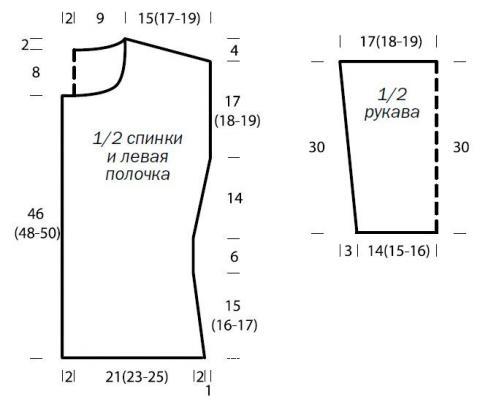 Схема вязания кардиган с ажурными рукавами раздел вязание спицами для женщин кофты спицами женские