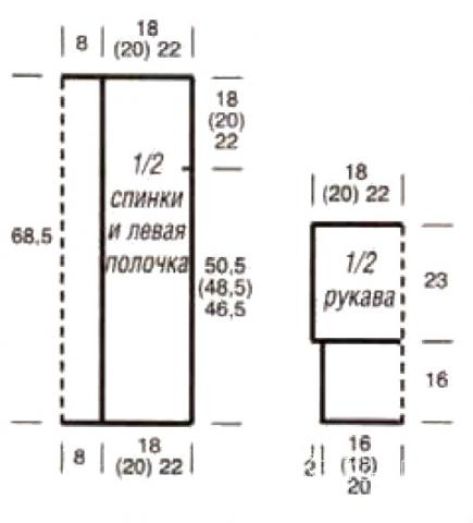 Схема вязания кардиган с широкими жаккардовыми планками раздел вязание спицами для женщин кофты спицами женские
