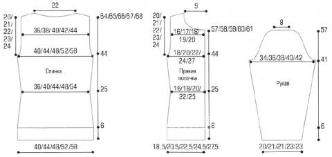 Схема вязания кардиган с узорчатой полочкой раздел вязание спицами для женщин кофты спицами женские