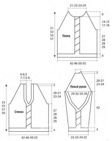 Схема вязания классический джемпер с косами и вырезом на спине раздел вязание спицами для женщин кофты спицами женские