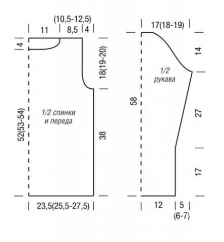 Схема вязания классический приталенный пуловер раздел вязание спицами для женщин кофты спицами женские