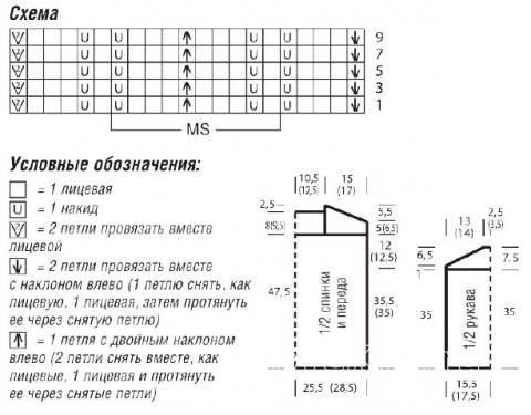 Схема вязания кофта со структурным узором раздел вязание спицами для женщин кофты спицами женские