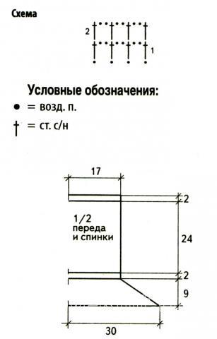 Схема вязания комплект из топа без бретелей и митенок раздел вязание спицами для женщин кофты спицами женские