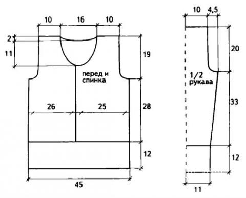 Схема вязания короткий джемпер с разрезом в центре раздел вязание спицами для женщин кофты спицами женские
