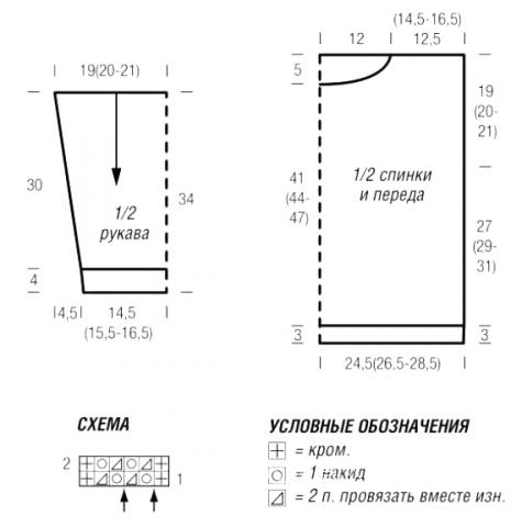 Схема вязания короткий джемпер с сетчатым узором раздел вязание спицами для женщин кофты спицами женские