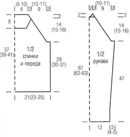 Схема вязания короткий джемпер в черно-белую полоску раздел вязание спицами для женщин кофты спицами женские