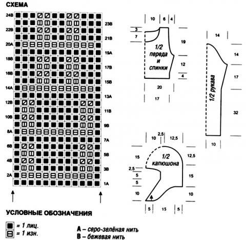 Схема вязания короткий пуловер с капюшоном и воротником раздел вязание спицами для женщин кофты спицами женские