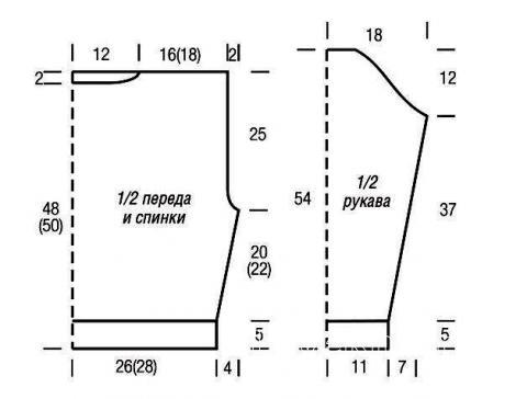 Схема вязания короткий пуловер с жемчужным узором раздел вязание спицами для женщин кофты спицами женские