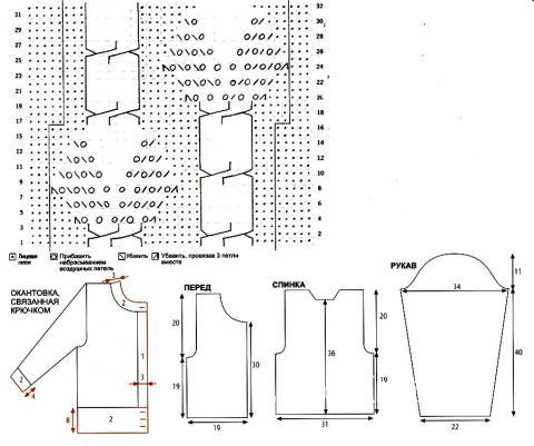 Схема вязания короткий сиреневый жакет раздел вязание спицами для женщин кофты спицами женские