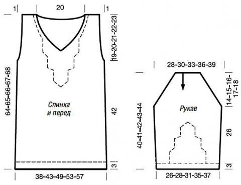 Схема вязания меланжевый джемпер с центральным рисунком раздел вязание спицами для женщин кофты спицами женские