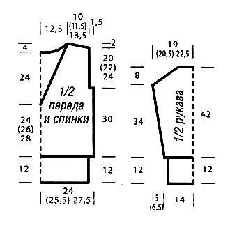 Схема вязания меланжевый пуловер с v-образным вырезом раздел вязание спицами для женщин кофты спицами женские