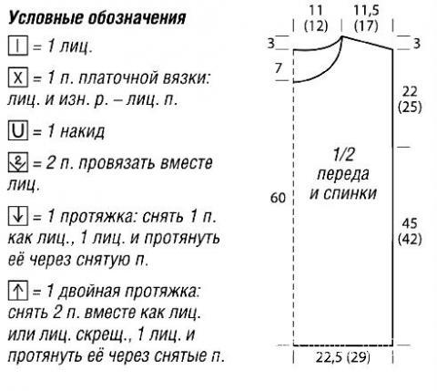 Схема вязания объемный джемпер с контрастной отделкой раздел вязание спицами для женщин кофты спицами женские