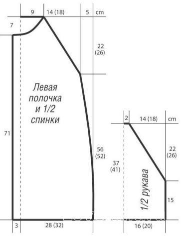 Схема вязания объемный удлиненный джемпер с капюшоном раздел вязание спицами для женщин кофты спицами женские