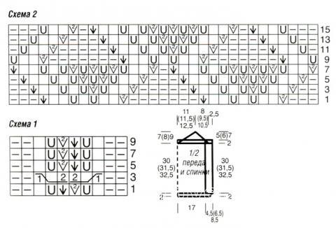 Схема вязания оранжевый топ с двойными бретелями раздел вязание спицами для женщин кофты спицами женские