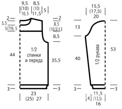 Схема вязания полосатый джемпер со звездами раздел вязание спицами для женщин кофты спицами женские