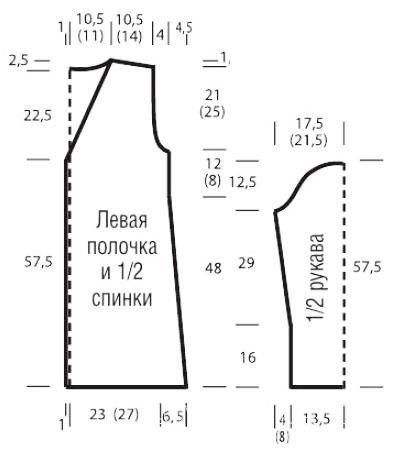 Схема вязания полосатый жакет с бахромой по подолу раздел вязание спицами для женщин кофты спицами женские