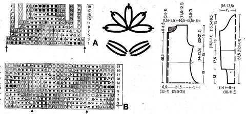 Схема вязания приталенный жакет с цветами раздел вязание спицами для женщин кофты спицами женские