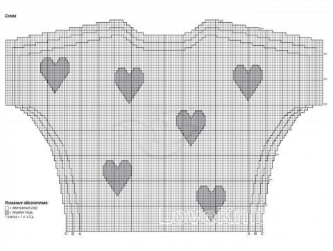 Схема вязания пуловер с ажурной полосой и рисунком сердечко раздел вязание спицами для женщин кофты спицами женские