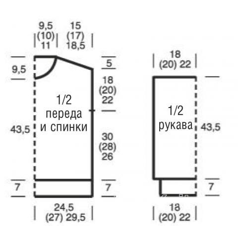 Схема вязания пуловер с ажурной резинкой раздел вязание спицами для женщин кофты спицами женские