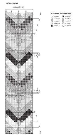 Схема вязания пуловер с геометрическим цветным узором раздел вязание спицами для женщин кофты спицами женские