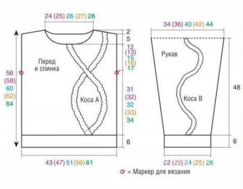 Схема вязания пуловер с ложной «косой» раздел вязание спицами для женщин кофты спицами женские