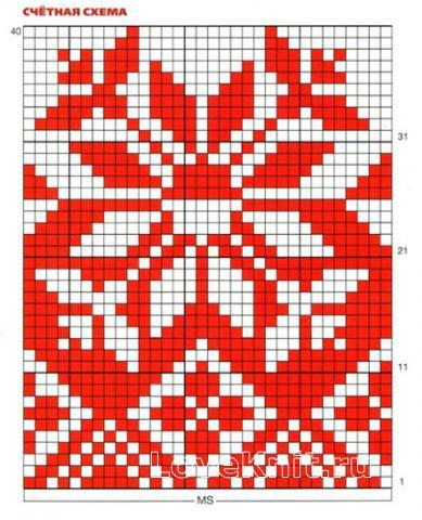 Схема вязания пуловер с норвежским узором в бело-красной гамме раздел вязание спицами для женщин кофты спицами женские