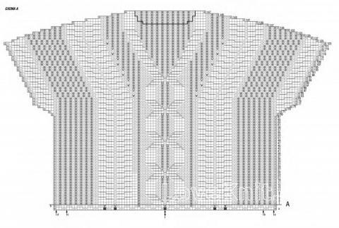 Схема вязания пуловер с ромбами с высоким воротом раздел вязание спицами для женщин кофты спицами женские