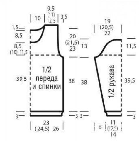 Схема вязания пуловер с узором из зигзагов раздел вязание спицами для женщин кофты спицами женские