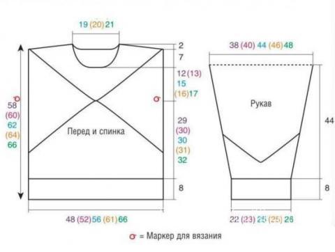 Схема вязания пушистый джемпер в стиле колор-блок раздел вязание спицами для женщин кофты спицами женские