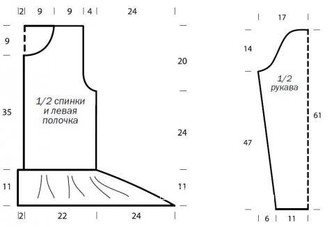 Схема вязания рельефная кофта с расклешенным низом раздел вязание спицами для женщин кофты спицами женские