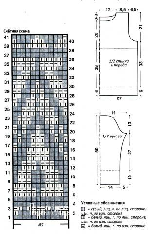 Схема вязания серый свитер с жаккардовым узором раздел вязание спицами для женщин кофты спицами женские