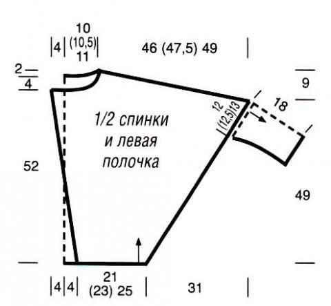 Схема вязания широкий жакет с рукавом летучая мышь раздел вязание спицами для женщин кофты спицами женские