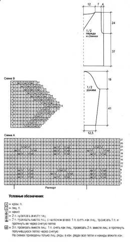 Схема вязания сиреневый пуловер с оборкой раздел вязание спицами для женщин кофты спицами женские