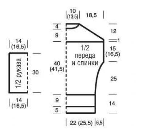 Схема вязания свитер с боковыми разрезами раздел вязание спицами для женщин кофты спицами женские