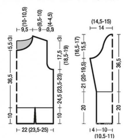 Схема вязания свитер с разрезами снизу раздел вязание спицами для женщин кофты спицами женские