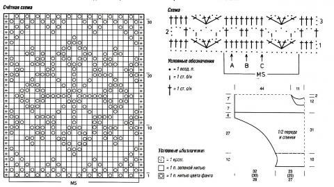 """Схема вязания свитер с жаккардовой кокеткой """"летучая мышь"""" раздел вязание спицами для женщин кофты спицами женские"""