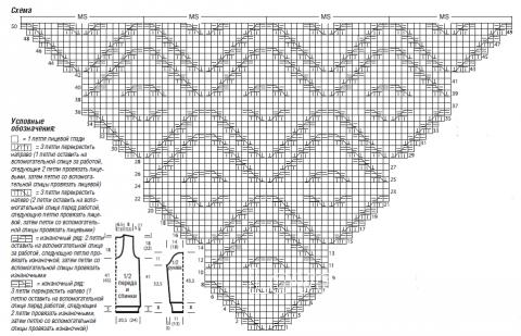 Схема вязания свитер с жаккардовыми бордюрами раздел вязание спицами для женщин кофты спицами женские