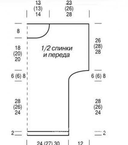 Схема вязания свободная туника с укороченными рукавами и открытыми плечами раздел вязание спицами для женщин кофты спицами женские