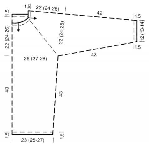 Схема вязания свободный джемпер реглан с асимметричным узором раздел вязание спицами для женщин кофты спицами женские