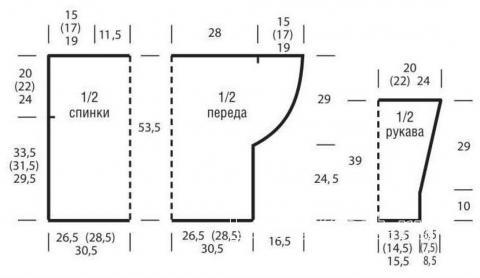 Схема вязания свободный джемпер с вырезом «качели» раздел вязание спицами для женщин кофты спицами женские