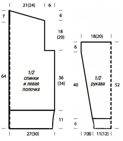 Схема вязания свободный кардиган с плетеным узором раздел вязание спицами для женщин кофты спицами женские