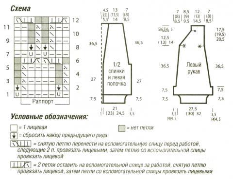 Схема вязания свободный кардиган с узором «ромбы» раздел вязание спицами для женщин кофты спицами женские