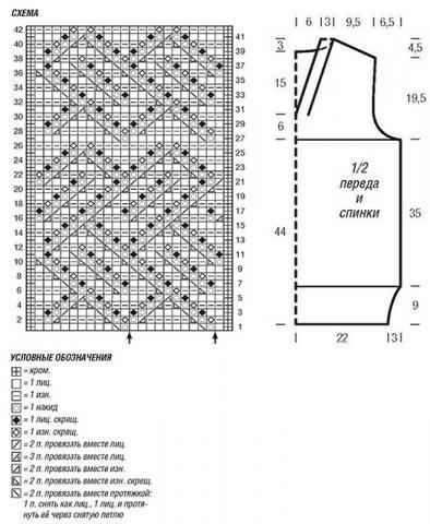 Схема вязания свободный топ с ажурным узором раздел вязание спицами для женщин кофты спицами женские