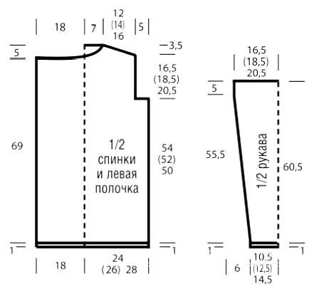 Схема вязания свободный жакет в полоску с бахромой раздел вязание спицами для женщин кофты спицами женские