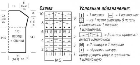 Схема вязания топ с ажурной вставкой  и открытыми плечами раздел вязание спицами для женщин кофты спицами женские